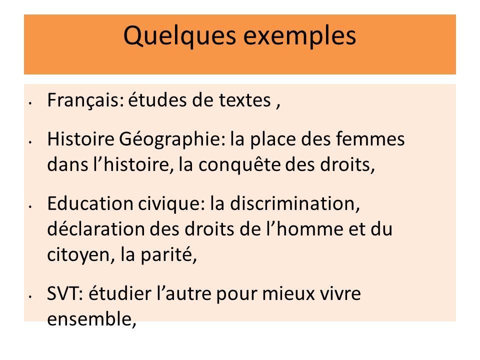 Quelques exemples Français: études de textes, Histoire Géographie: la place des femmes dans lhistoire, la conquête des droits, Education civique: la d