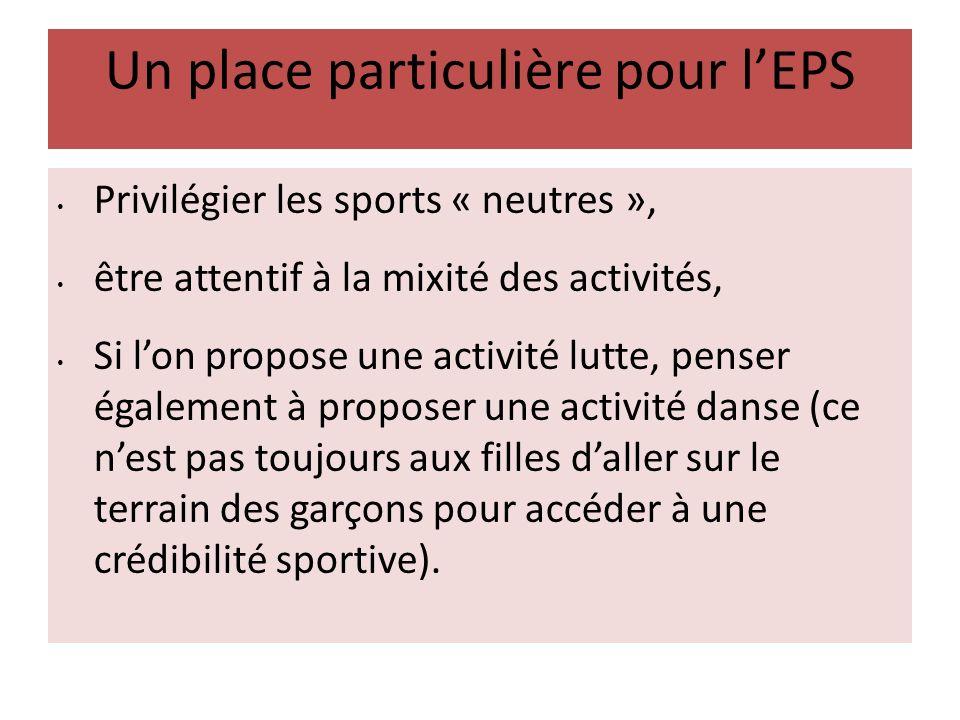 Un place particulière pour lEPS Privilégier les sports « neutres », être attentif à la mixité des activités, Si lon propose une activité lutte, penser