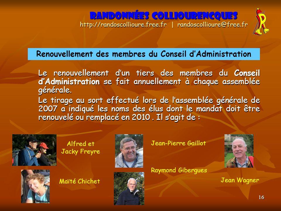 16 Le renouvellement dun tiers des membres du Conseil dAdministration se fait annuellement à chaque assemblée générale. Le tirage au sort effectué lor