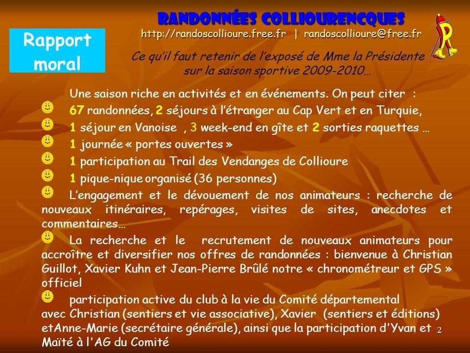 2 Rapport moral Randonnées Colliourencques http://randoscollioure.free.fr | randoscollioure@free.fr Ce quil faut retenir de lexposé de Mme la Présiden
