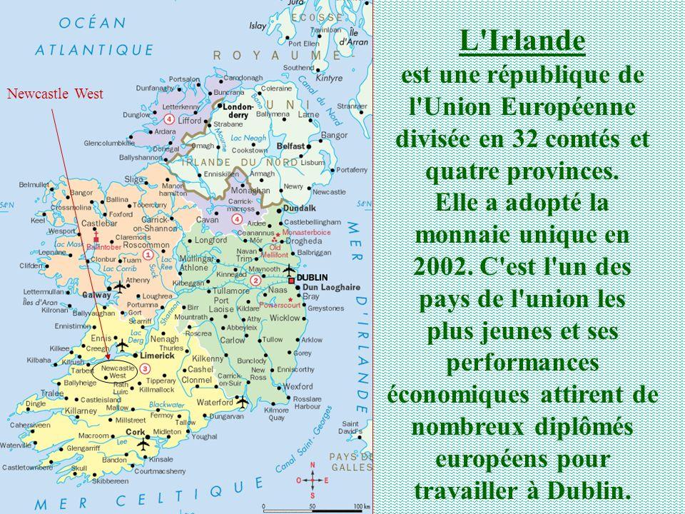L'Irlande est une république de l'Union Européenne divisée en 32 comtés et quatre provinces. Elle a adopté la monnaie unique en 2002. C'est l'un des p