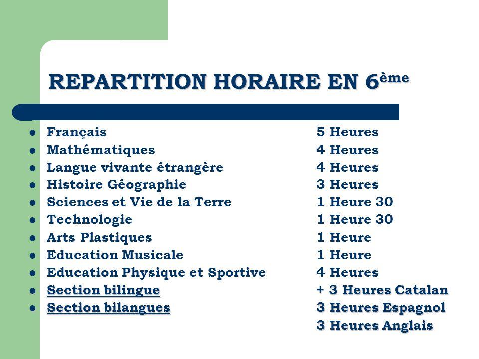 REPARTITION HORAIRE EN 6 ème Français 5 Heures Mathématiques4 Heures Langue vivante étrangère4 Heures Histoire Géographie3 Heures Sciences et Vie de l