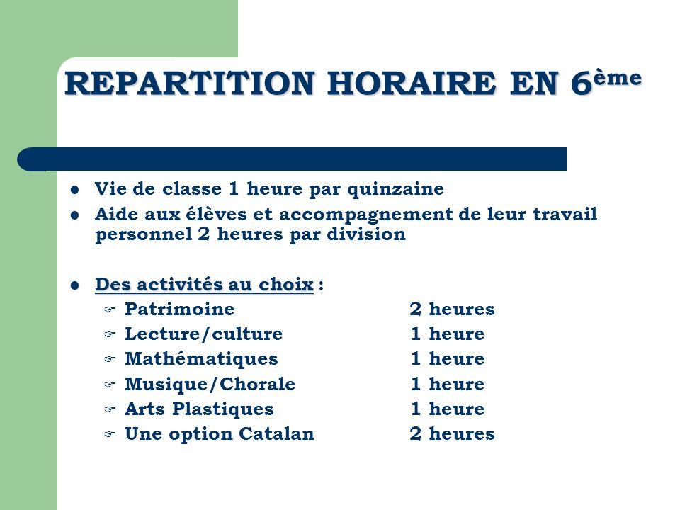REPARTITION HORAIRE EN 6 ème Vie de classe 1 heure par quinzaine Aide aux élèves et accompagnement de leur travail personnel 2 heures par division Des
