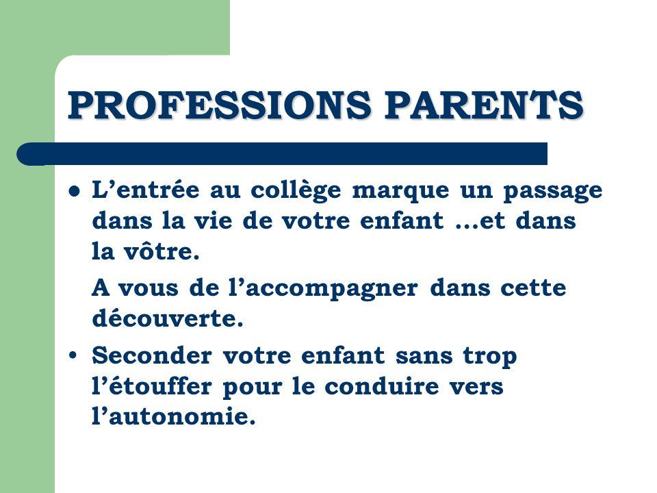 PROFESSIONS PARENTS Lentrée au collège marque un passage dans la vie de votre enfant …et dans la vôtre. A vous de laccompagner dans cette découverte.