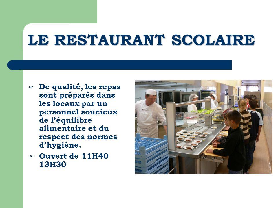 LE RESTAURANT SCOLAIRE De qualité, les repas sont préparés dans les locaux par un personnel soucieux de léquilibre alimentaire et du respect des norme