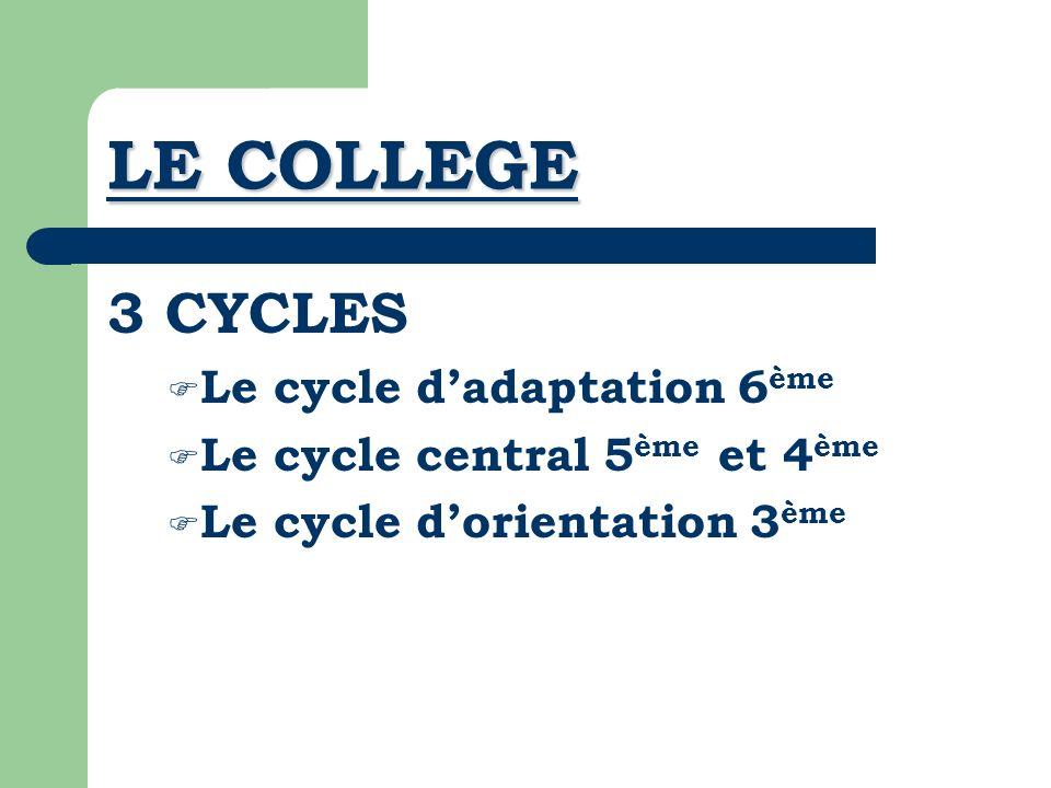 CYCLE DADAPTATION 6 ème Apprendre le métier de collégien Découvrir la spécificité des disciplines Vivre à un rythme plus complexe Acquérir les outils du travail personnel Acquérir des repères comportementaux pour lintégration dans le groupe