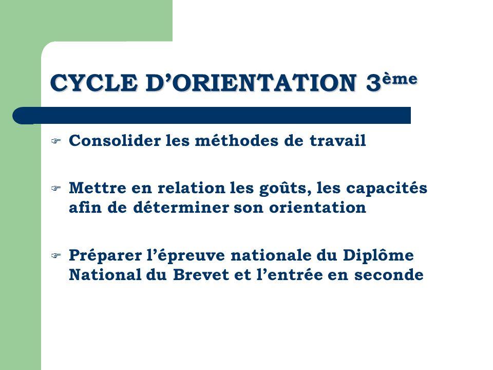CYCLE DORIENTATION 3 ème Consolider les méthodes de travail Mettre en relation les goûts, les capacités afin de déterminer son orientation Préparer lé