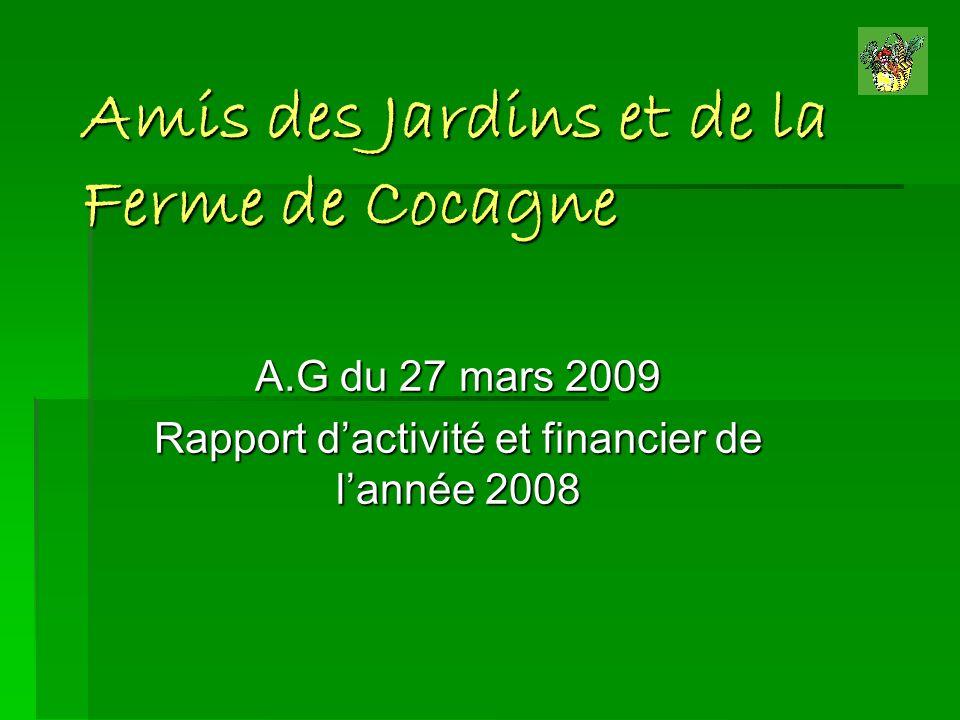 Amis des Jardins et de la Ferme de Cocagne A.G du 27 mars 2009 Rapport dactivité et financier de lannée 2008