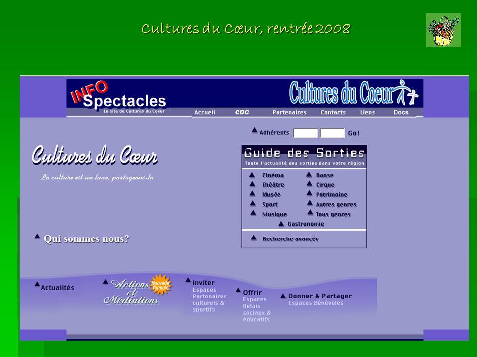 Cultures du Cœur, rentrée 2008