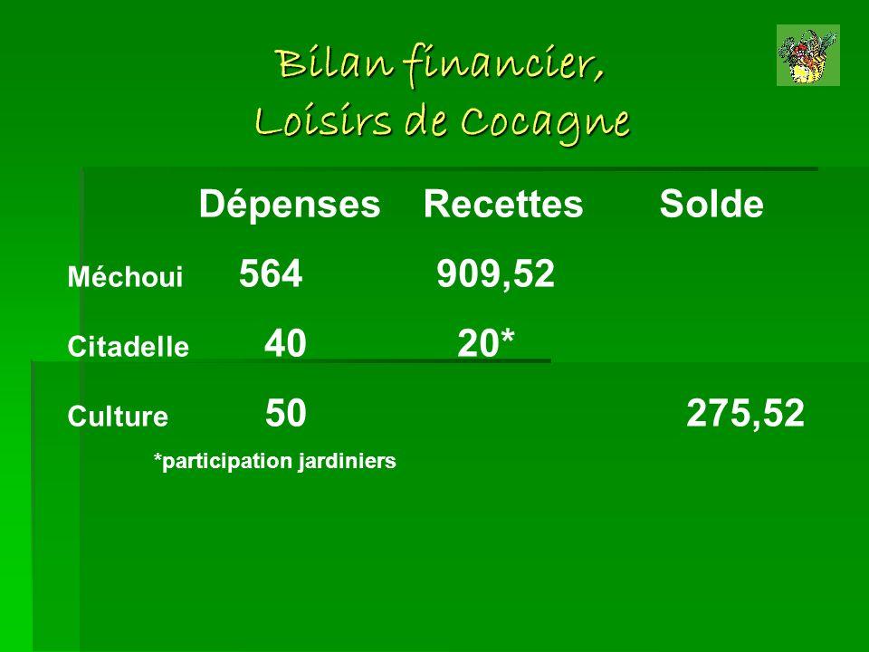 Bilan financier, Loisirs de Cocagne Dépenses Recettes Solde Méchoui 564 909,52 Citadelle 40 20* Culture 50 275,52 *participation jardiniers