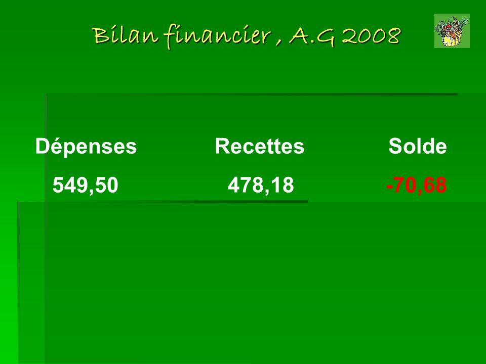 Bilan financier, A.G 2008 Dépenses Recettes Solde 549,50 478,18 -70,68