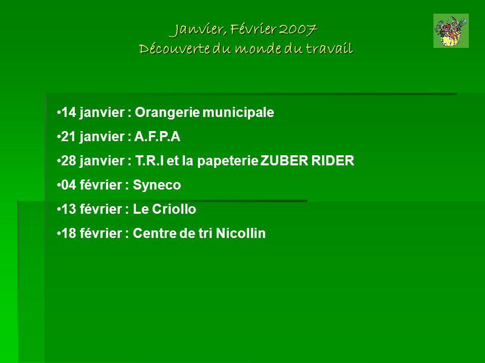 Janvier, Février 2007 Découverte du monde du travail 14 janvier : Orangerie municipale 21 janvier : A.F.P.A 28 janvier : T.R.I et la papeterie ZUBER R