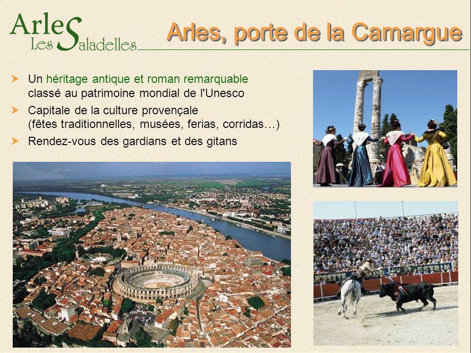 Plus de 300 jours d ensoleillement par an Des paysages multiples, le Rhône et la plus grande plage naturelle de Méditerranée (28 km) Arles, porte de la Camargue