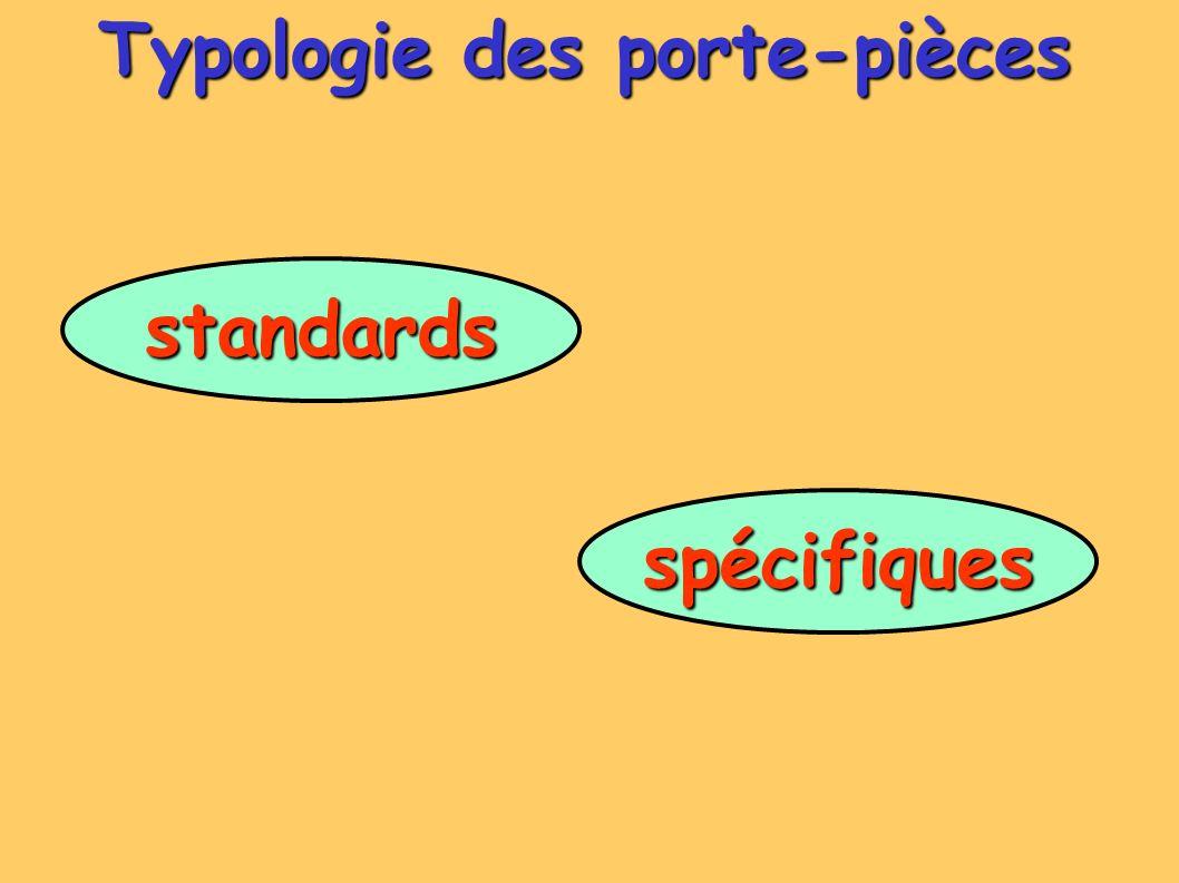Typologie des porte-pièces standards spécifiques