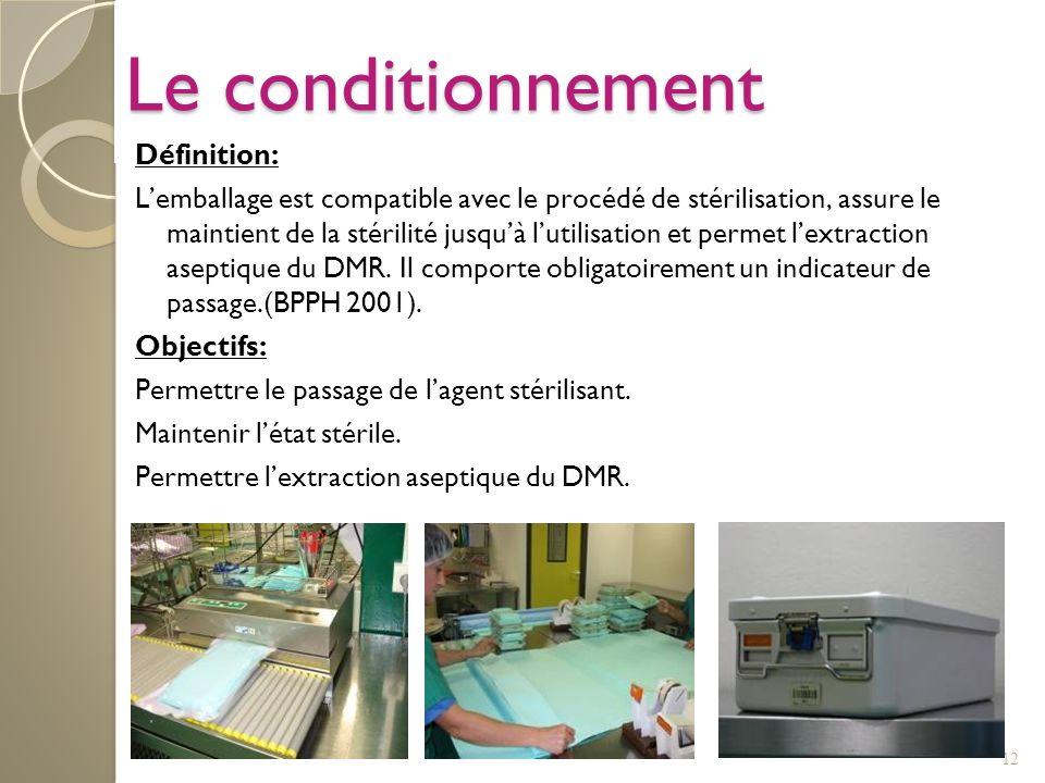 12 Le conditionnement Définition: Lemballage est compatible avec le procédé de stérilisation, assure le maintient de la stérilité jusquà lutilisation
