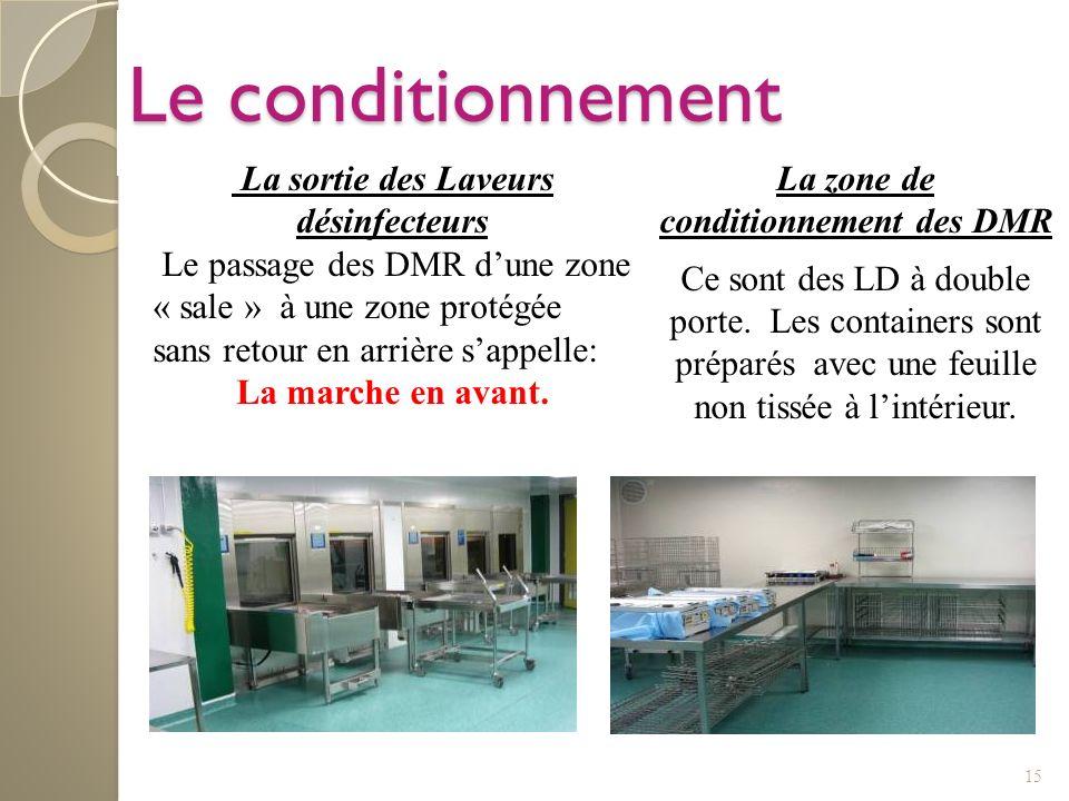 15 Le conditionnement La zone de conditionnement des DMR Ce sont des LD à double porte. Les containers sont préparés avec une feuille non tissée à lin