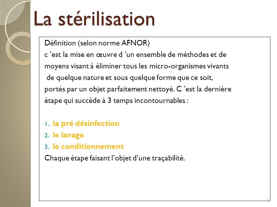 3 La pré-désinfection Définition: Opération au résultat momentané permettant déliminer, de tuer ou dinhiber les micro- organismes indésirables en fonction des objectifs fixés.