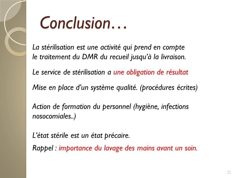 21 Conclusion… La stérilisation est une activité qui prend en compte le traitement du DMR du recueil jusquà la livraison. Le service de stérilisation