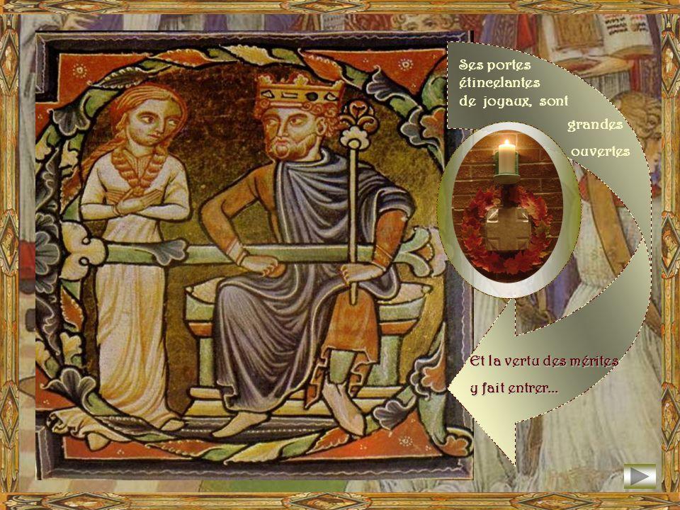 Jérusalem, cité bienheureuse, appelée vision de Paix ! Elle sélève dans les cieux, faite de pierres vivantes, Et les anges lenvironnent comme un cortè