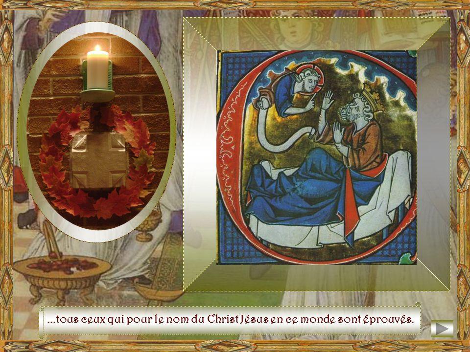 Ses portes étincelantes de joyaux, sont grandes ouvertes Et la vertu des mérites y fait entrer...