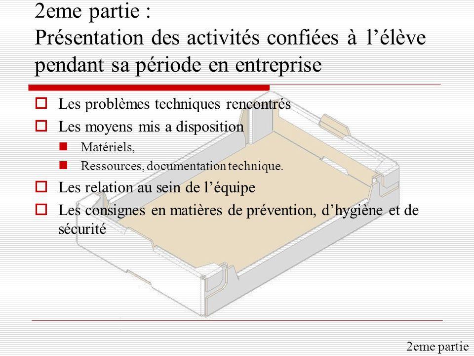 2eme partie : Présentation des activités confiées à lélève pendant sa période en entreprise Les problèmes techniques rencontrés Les moyens mis a dispo
