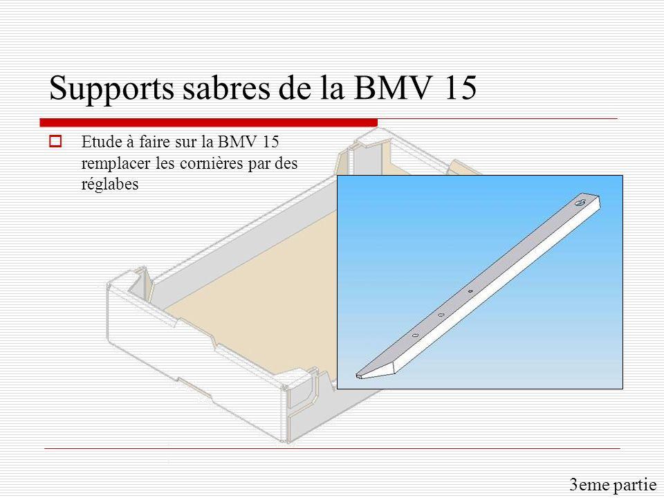 Supports sabres de la BMV 15 Etude à faire sur la BMV 15 remplacer les cornières par des réglabes 3eme partie