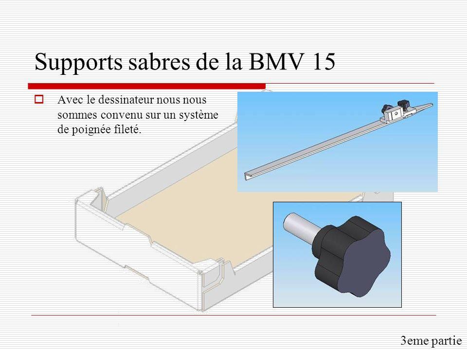 Supports sabres de la BMV 15 Avec le dessinateur nous nous sommes convenu sur un système de poignée fileté. 3eme partie