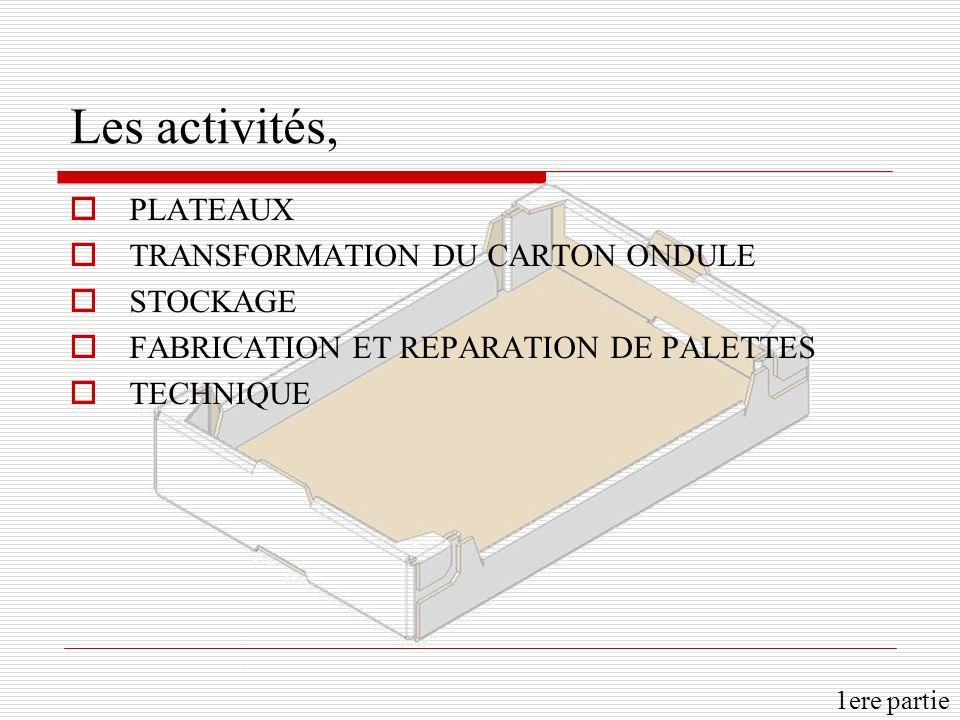 Les activités, PLATEAUX TRANSFORMATION DU CARTON ONDULE STOCKAGE FABRICATION ET REPARATION DE PALETTES TECHNIQUE 1ere partie