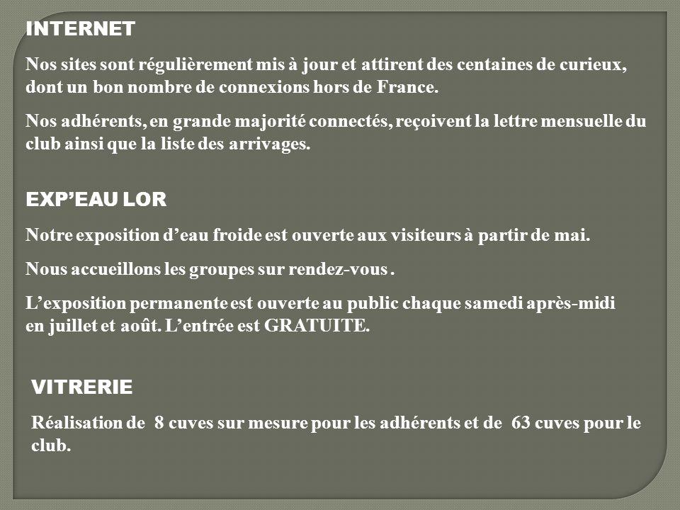INTERNET Nos sites sont régulièrement mis à jour et attirent des centaines de curieux, dont un bon nombre de connexions hors de France. Nos adhérents,