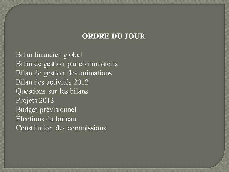ORDRE DU JOUR Bilan financier global Bilan de gestion par commissions Bilan de gestion des animations Bilan des activités 2012 Questions sur les bilan