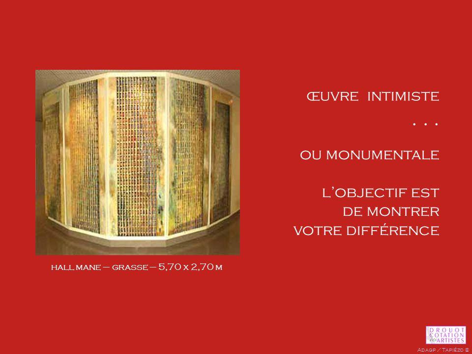 œuvre intimiste... pictogramme de porte ou monumentale lobjectif est de montrer votre différence hall mane – grasse – 5,70 x 2,70 m Adagp / Tapiézo ©