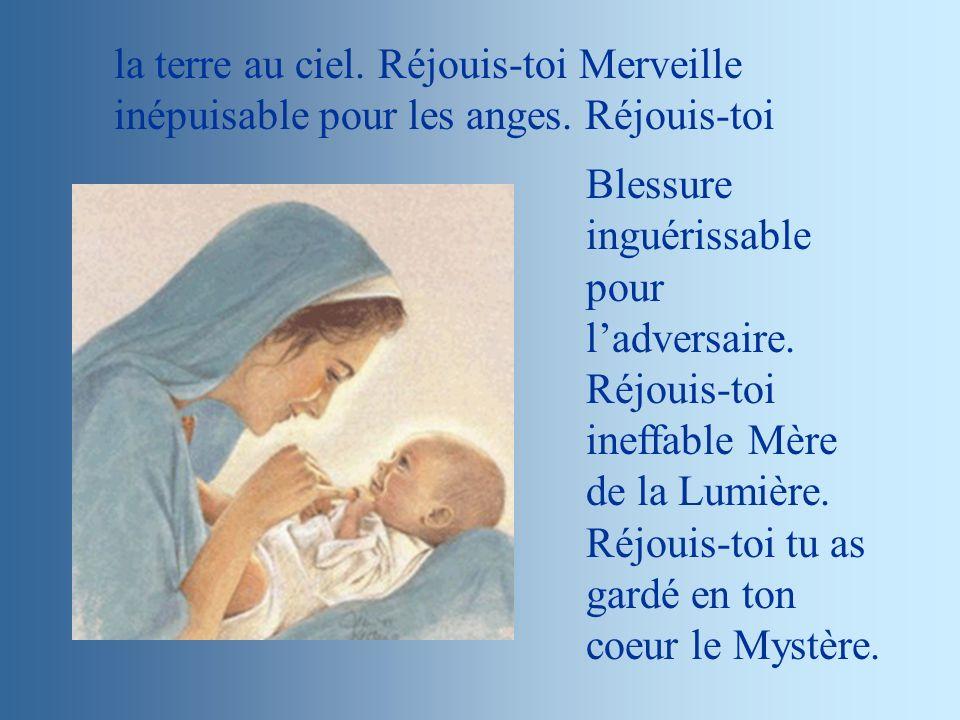 la terre au ciel.Réjouis-toi Merveille inépuisable pour les anges.