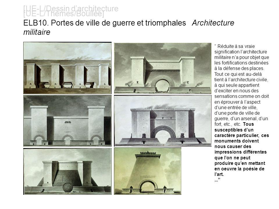 [UE-L/Dessin darchitecture [UE-L/Thèmes/Boullée] ELB10. Portes de ville de guerre et triomphales Architecture militaire Réduite à sa vraie significati