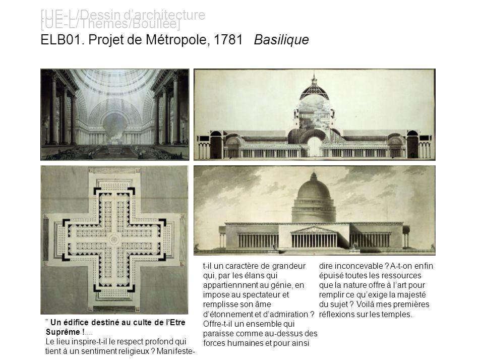 [UE-L/Dessin darchitecture [UE-L/Thèmes/Boullée] ELB01. Projet de Métropole, 1781 Basilique Un édifice destiné au culte de lEtre Suprême !.... Le lieu