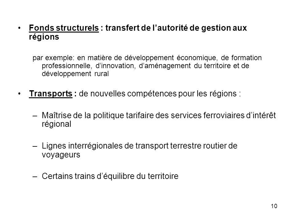 10 Fonds structurels : transfert de lautorité de gestion aux régions par exemple: en matière de développement économique, de formation professionnelle