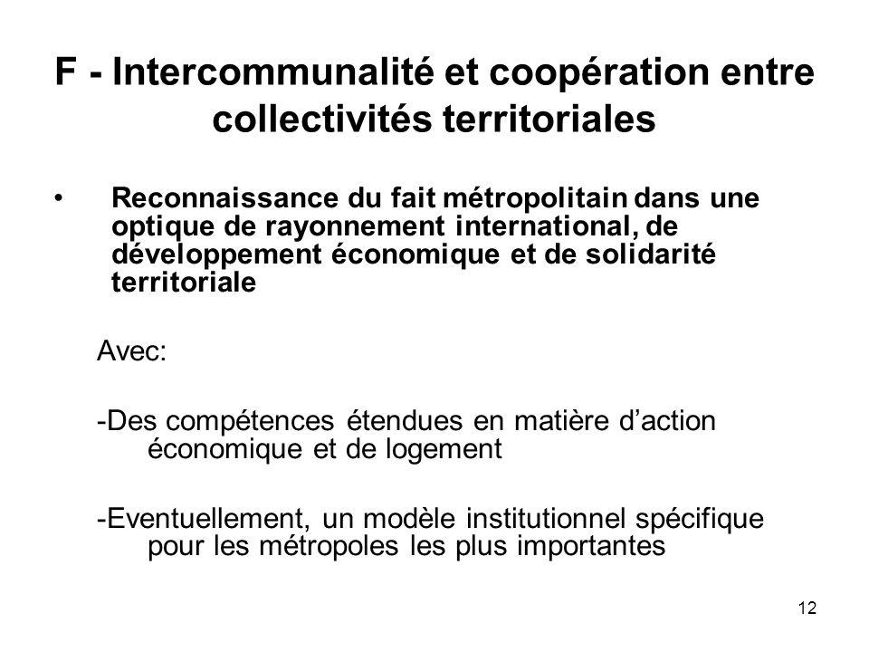 12 F - Intercommunalité et coopération entre collectivités territoriales Reconnaissance du fait métropolitain dans une optique de rayonnement internat