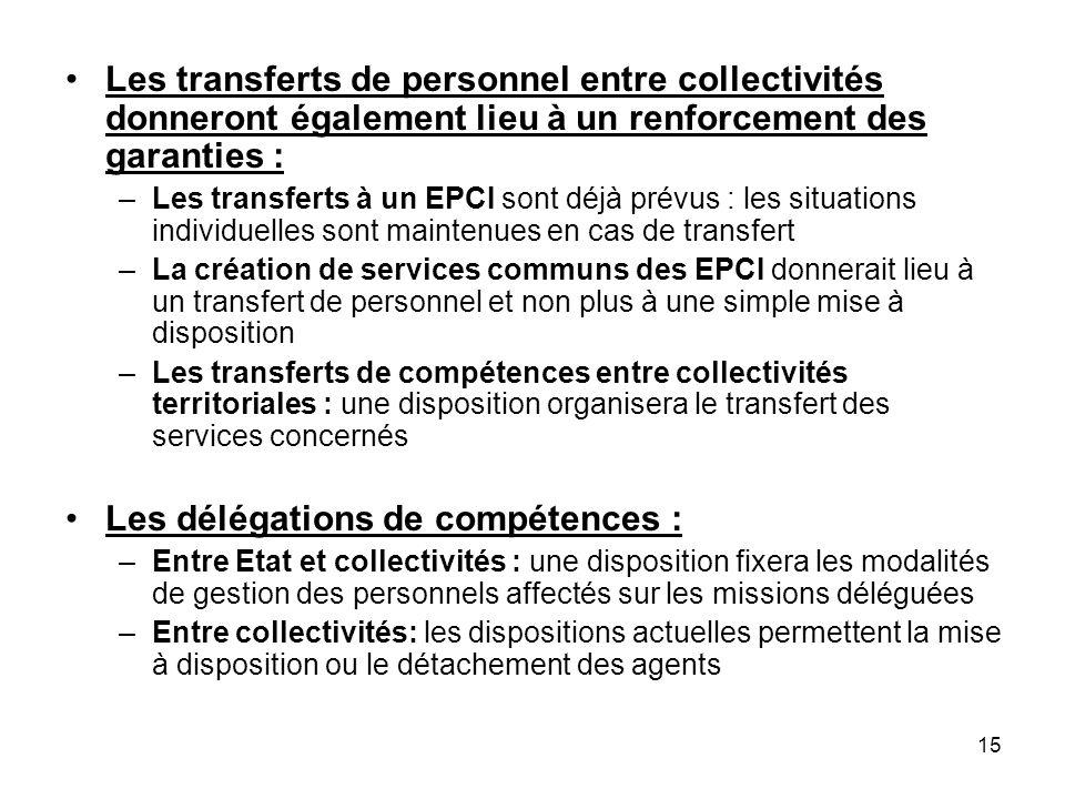 15 Les transferts de personnel entre collectivités donneront également lieu à un renforcement des garanties : –Les transferts à un EPCI sont déjà prév