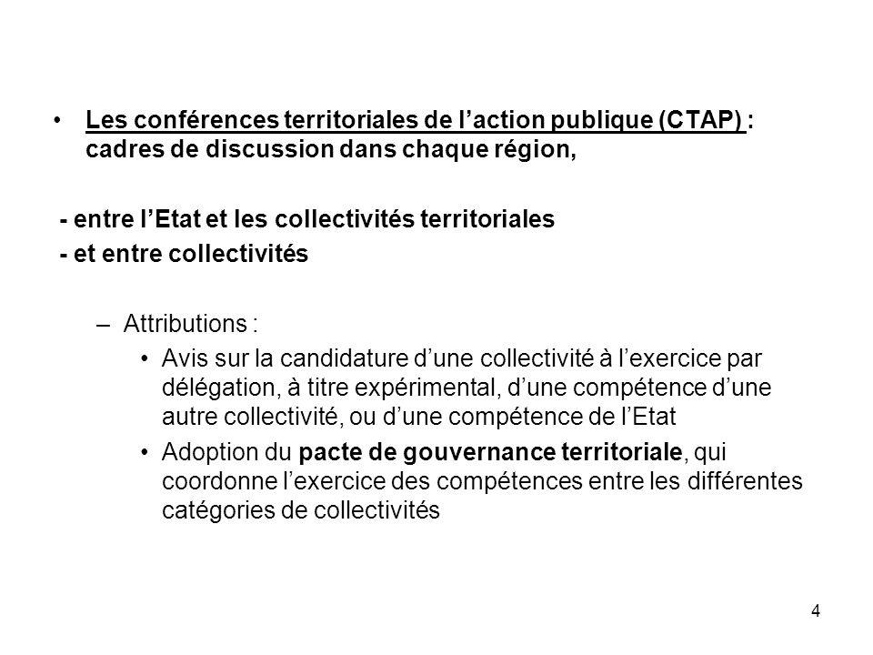 4 Les conférences territoriales de laction publique (CTAP) : cadres de discussion dans chaque région, - entre lEtat et les collectivités territoriales