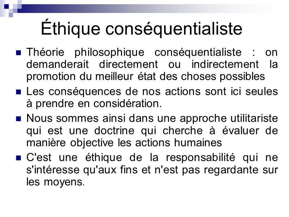 Éthique conséquentialiste Théorie philosophique conséquentialiste : on demanderait directement ou indirectement la promotion du meilleur état des chos
