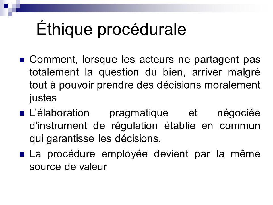 Éthique procédurale Comment, lorsque les acteurs ne partagent pas totalement la question du bien, arriver malgré tout à pouvoir prendre des décisions