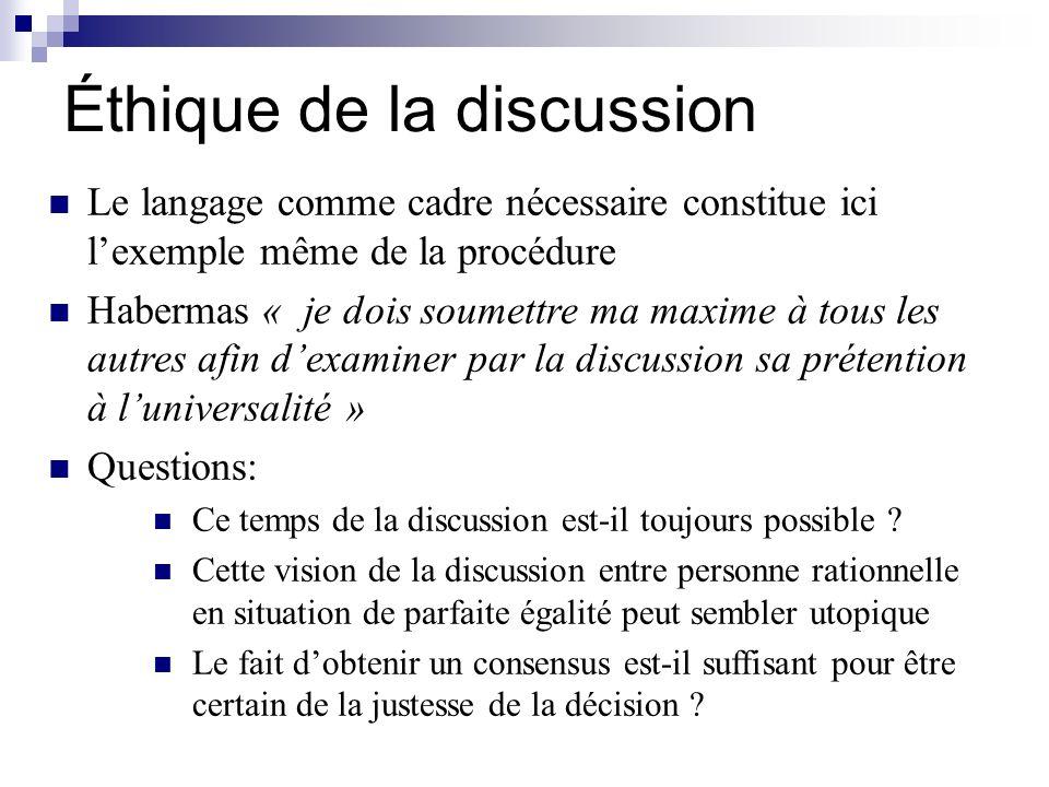 Éthique de la discussion Le langage comme cadre nécessaire constitue ici lexemple même de la procédure Habermas « je dois soumettre ma maxime à tous l