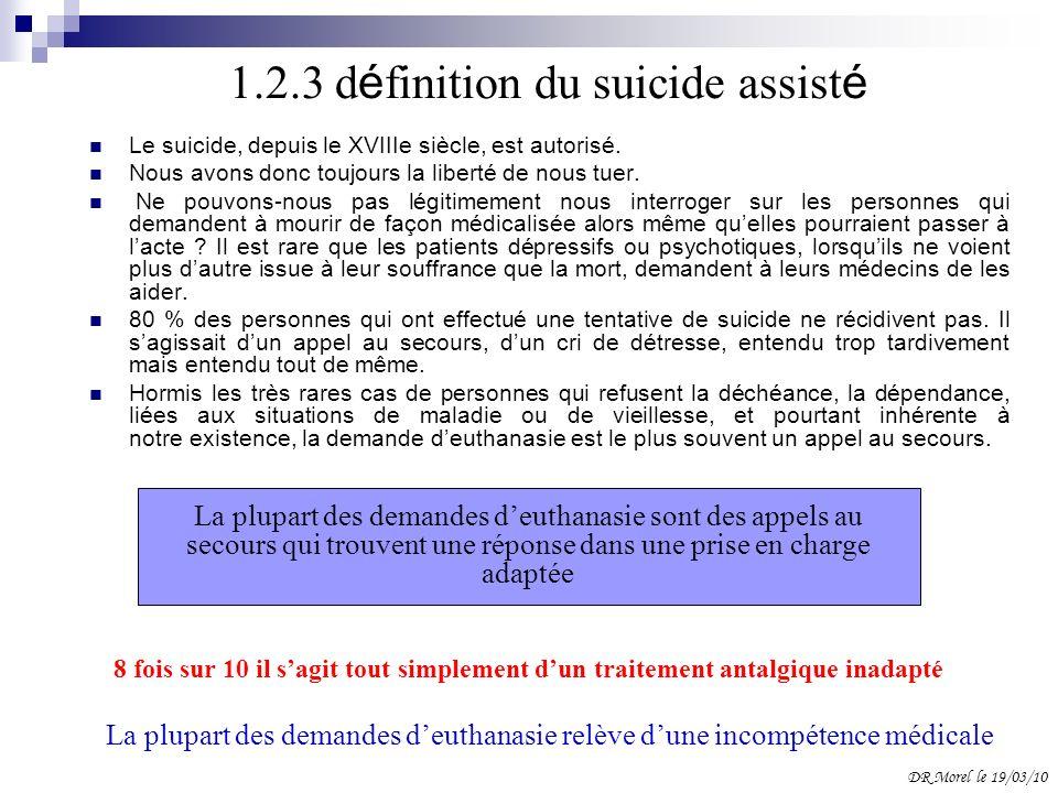 1.2.3 d é finition du suicide assist é Le suicide, depuis le XVIIIe siècle, est autorisé. Nous avons donc toujours la liberté de nous tuer. Ne pouvons