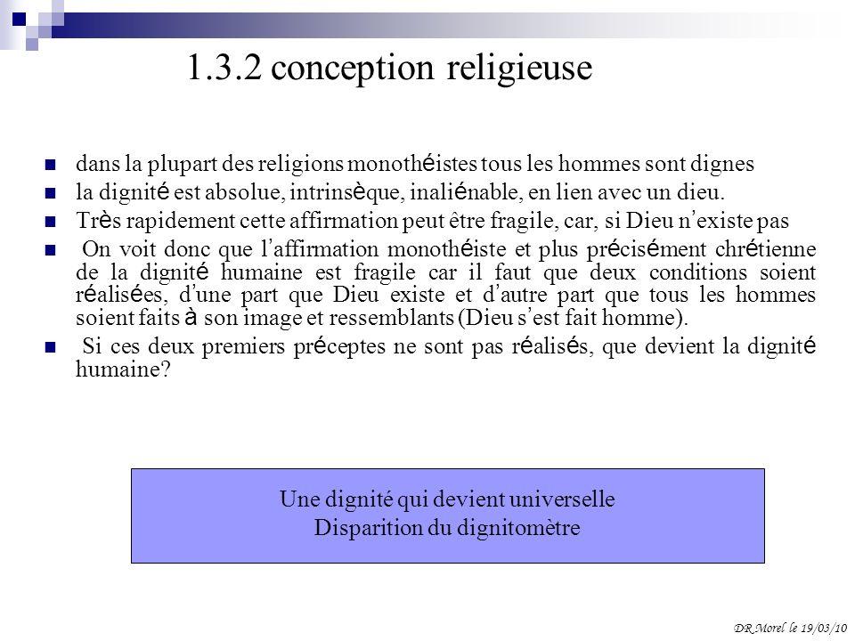 1.3.2 conception religieuse dans la plupart des religions monoth é istes tous les hommes sont dignes la dignit é est absolue, intrins è que, inali é n