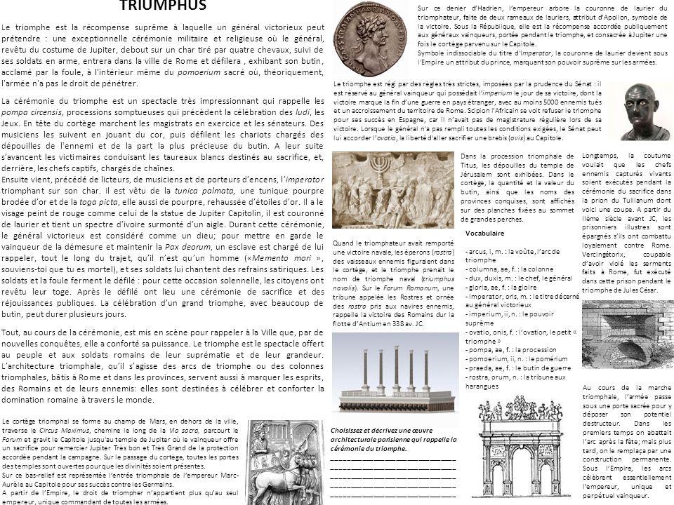 TRIUMPHUS Le triomphe est la récompense suprême à laquelle un général victorieux peut prétendre : une exceptionnelle cérémonie militaire et religieuse où le général, revêtu du costume de Jupiter, debout sur un char tiré par quatre chevaux, suivi de ses soldats en arme, entrera dans la ville de Rome et défilera, exhibant son butin, acclamé par la foule, à lintérieur même du pomoerium sacré où, théoriquement, l armée n a pas le droit de pénétrer.