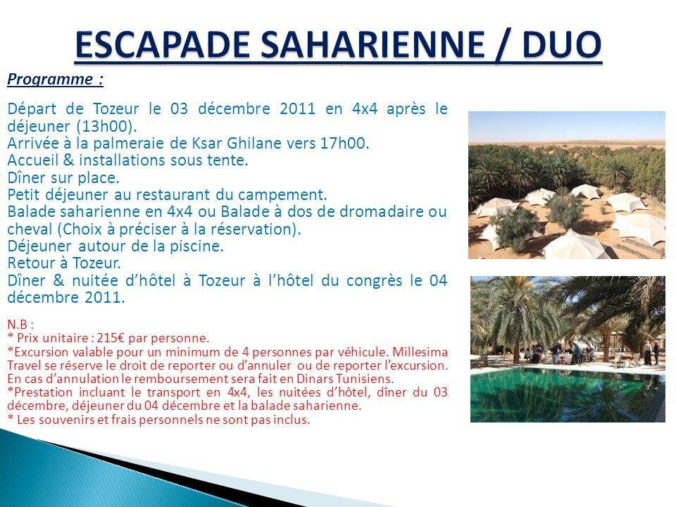 Programme : Départ de Tozeur le 03 décembre 2011 en 4x4 après le déjeuner (13h00). Arrivée à la palmeraie de Ksar Ghilane vers 17h00. Accueil & instal