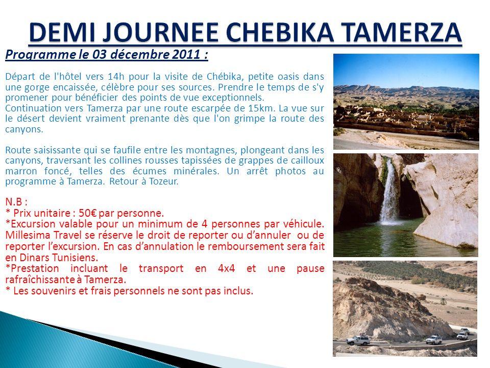 Programme le 03 décembre 2011 : Départ de l'hôtel vers 14h pour la visite de Chébika, petite oasis dans une gorge encaissée, célèbre pour ses sources.