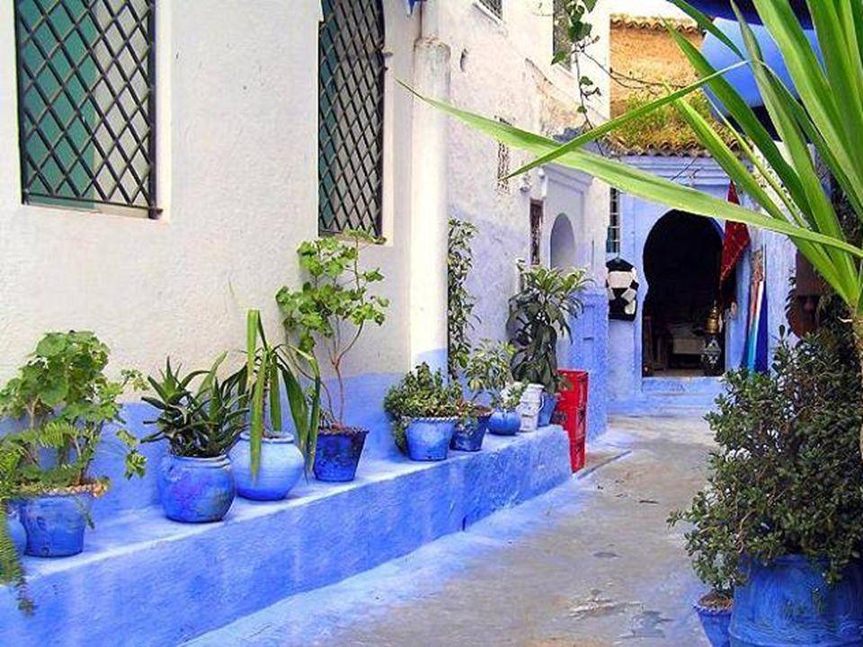 Les tonalités de bleu peuvent atteindre lindigo intense Linfluence de l'Andalousie apparaît dans lornementation des ruelles bordées de plantes et de f