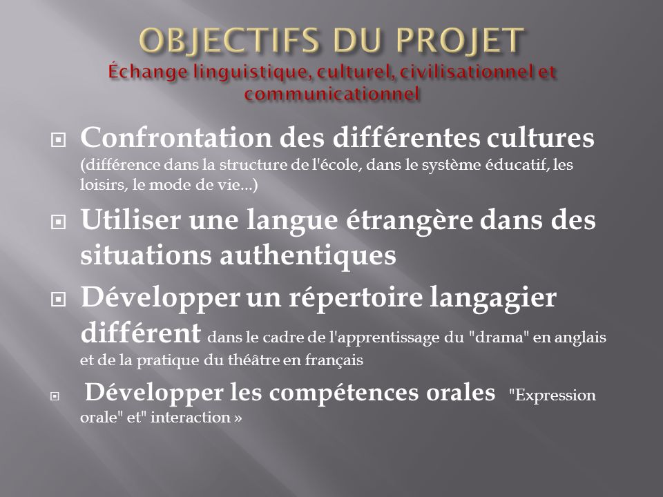 Confrontation des différentes cultures (différence dans la structure de l'école, dans le système éducatif, les loisirs, le mode de vie...) Utiliser un