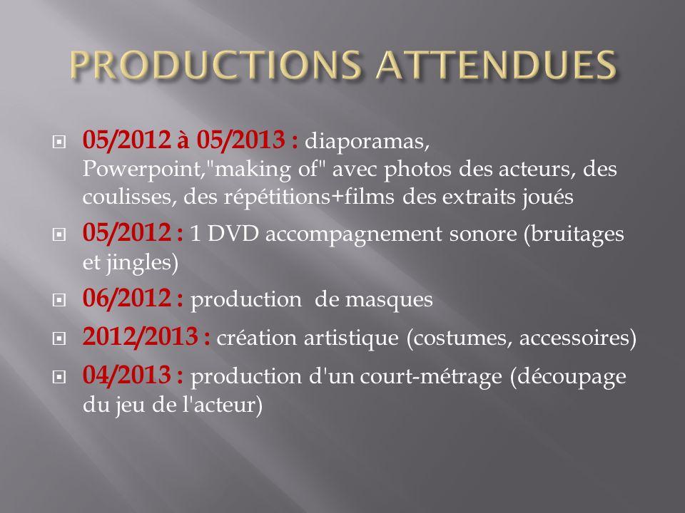 05/2012 à 05/2013 : diaporamas, Powerpoint,