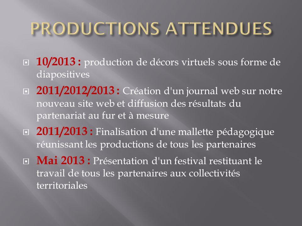 10/2013 : production de décors virtuels sous forme de diapositives 2011/2012/2013 : Création d'un journal web sur notre nouveau site web et diffusion